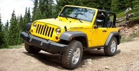 yellow Jeep, rough terrain