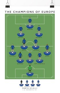 Poster of the Chelsea team that won the Champions League in 2021 in Porto, artwork Matthew J Wood